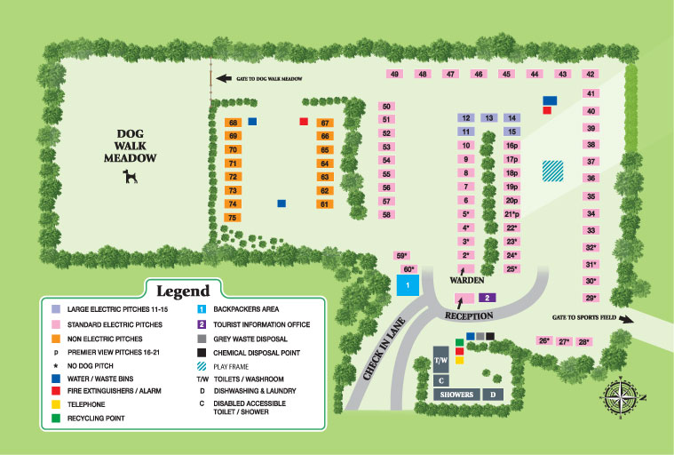 Heathfield Farm Camping Park Map
