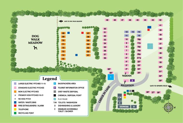Isle of Wight Campsite Pitch Plan  Heathfield Farm Camping Park